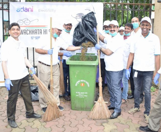 AEML Management team along with employees cleaned office premises as well surrounding areas as part of Swachh Bharat Mission today in Mumbai