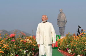 PM Narendra Modi in front of the Statue of Unity