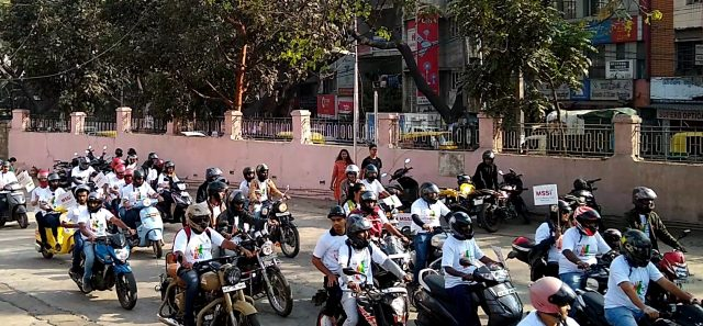 Bikers on their way to NIMHANS