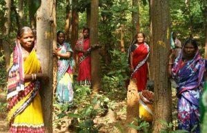 Protestors at sal forest in Balarampur