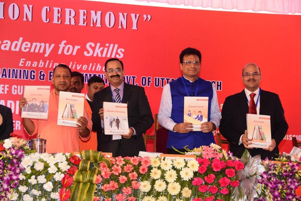 CM Yogi Adityanath, Mr. Anup Bagchi and Mr. Saurabh Singh launch the course material
