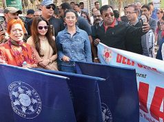 Manisha Koirala leads walk against tobacco and cancer in Assam