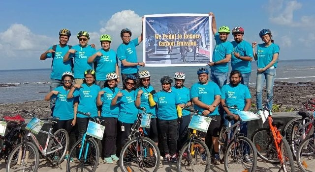 Employees of Liberty General Insurance Limited, cycled as a part of their annual CSR activity 'Serve with Liberty' ahead of World Bicycle Day