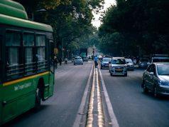 Pedestrians crossing road in India