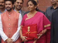 Finance Minister Nirmala Sitharaman before presenting the Union Budget 2019