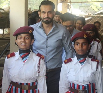 Irfan Pathan met children from a government school supported by YUVA Unstoppable