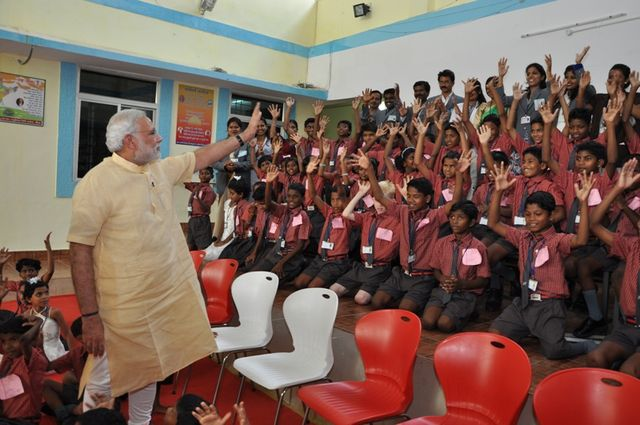 PM Modi in NMDC school