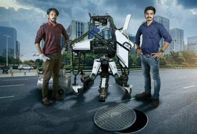 Bandicoot co-founders Vimal Govind (left) and Arun George with the world's first sewer-cleaning robot