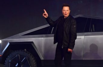 Elon Musk with a Tesla Cybertruck