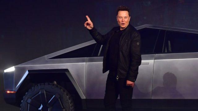 Elon Musk with a Tesla Cybertruck