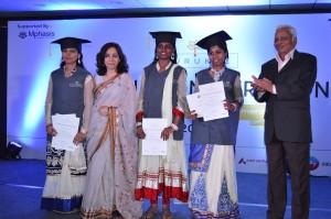 Meenu Bhambhani (L) and B Muthuraman (R) with Gurukul Graduates