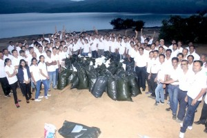 Cooper Employees with the collected Garbage bags