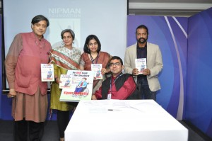 Dr Shashi Tharoor launching the graphic novel on diability written by disabled activist Nipun Malhotra at the 2nd NIPMAN Equal Opportunity Awards, 2015